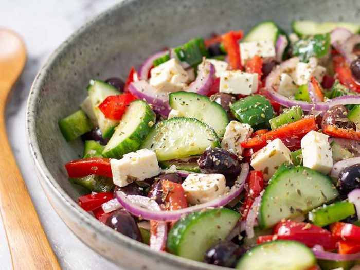 How to make Keto Greek Salad - easy low carb salad recipe