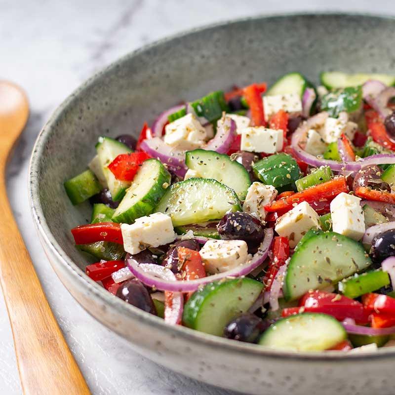 How to make Keto Greek Salad - easy low carb salad recipe